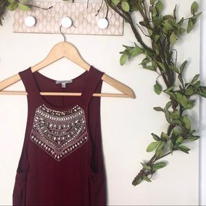 High Low Charlotte Russe Beaded Tank Size S